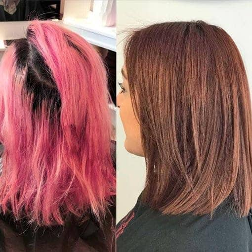 An ash brown color can neutralize the remaining pink