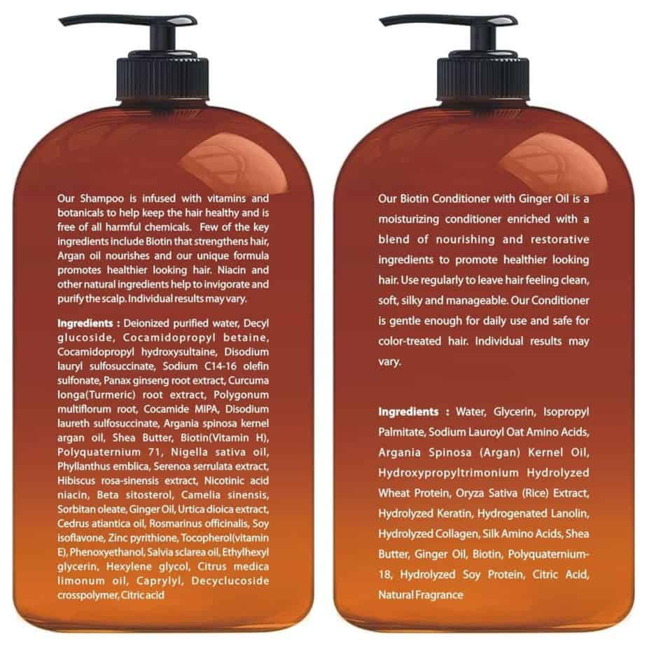 Each shampoo and conditioner product has its own ingredients