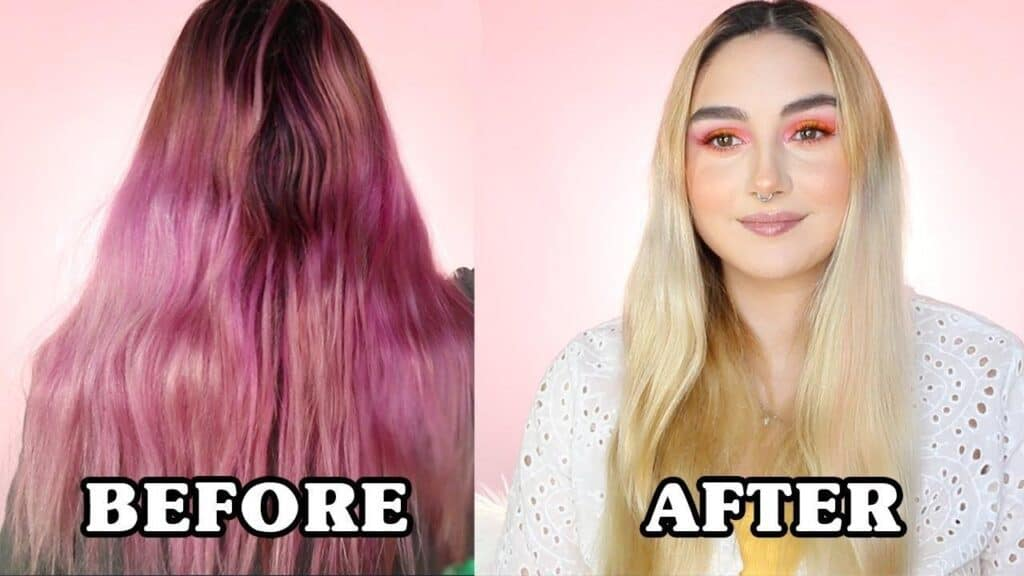 The bleach bath preserves your hair while still removing the pink colour
