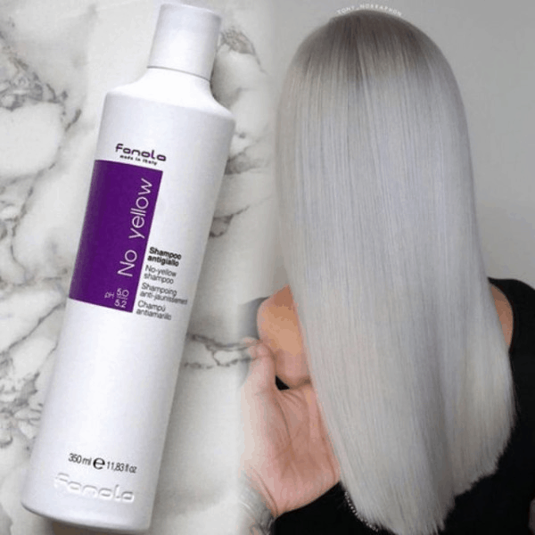 The purple shampoo provides purple pigment particles that help neutralize copper, orange-red in the hair