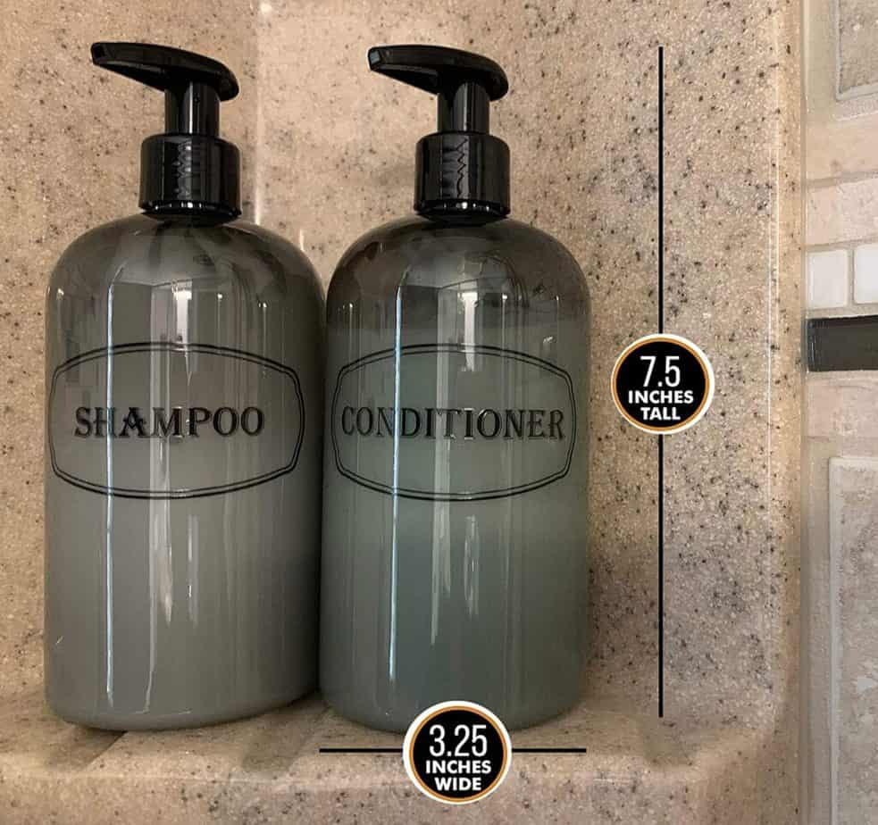 The weight of a bottle of shampoo is determined by the density of the liquid inside the bottle as well as the weight of the bottle.