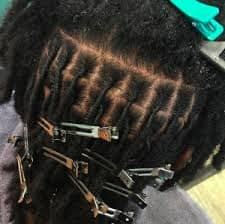 Divide your hair evenly into small 1x1 inch squares