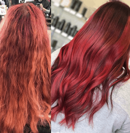 Before & After using Purple Shampoo for Orange Strands On Red Hair