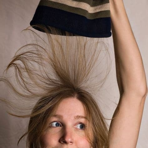 Hat causes static hair